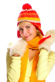 woman in winter cap and scarf