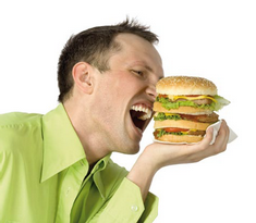 man with a hamburger